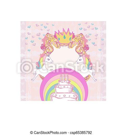 Frame with unicorns and birthday cake - csp65385792