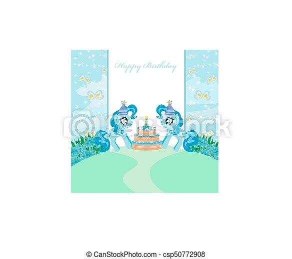 frame with unicorns and birthday cake - csp50772908