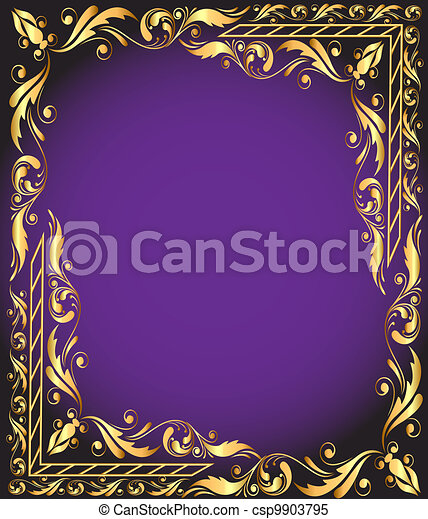 frame with vegetable and gold(en) pattern - csp9903795