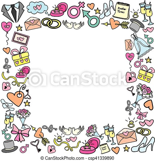 Frame with wedding objects - csp41339890