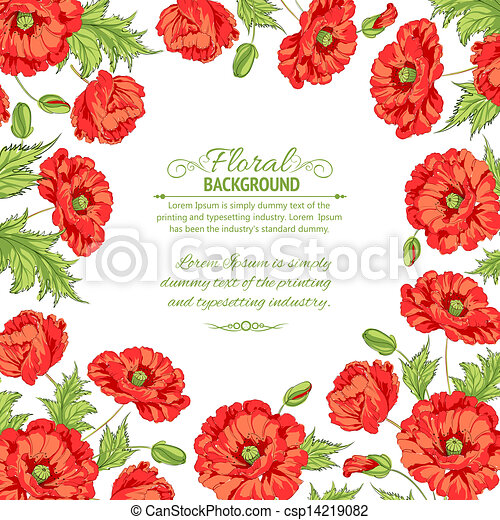 Frame with wreath of poppies isolated on white. - csp14219082