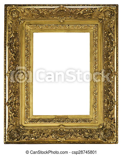 Frame wooden detailed ornate and gilded for canvas or mirror. Old ...