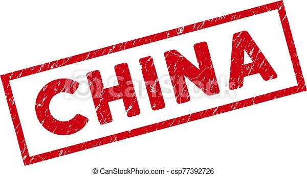 Framed Grunge China Rectangular Stamp - csp77392726