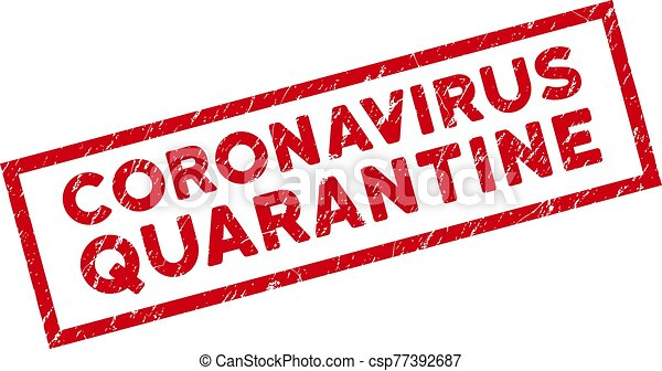 Framed Grunge Coronavirus Quarantine Rectangle Stamp Seal - csp77392687