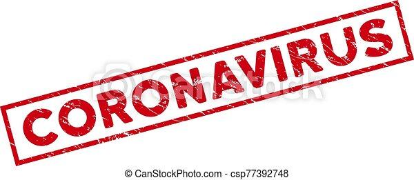 Framed Grunge Coronavirus Rectangle Stamp - csp77392748