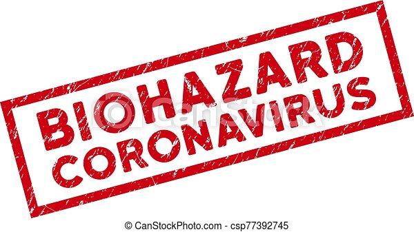 Framed Scratched Biohazard Coronavirus Rectangle Stamp - csp77392745