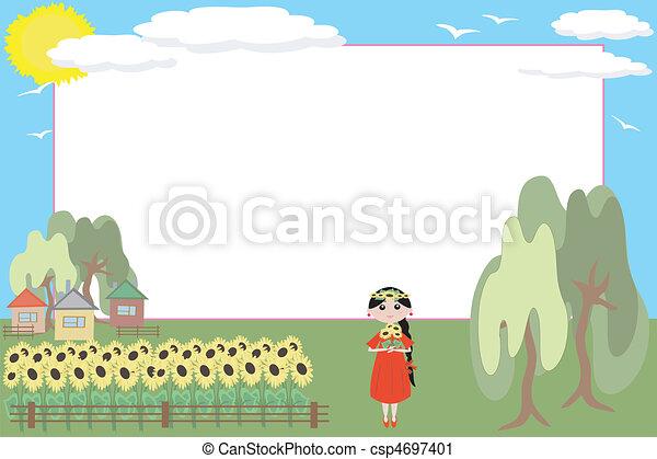 Una chica con girasoles - csp4697401