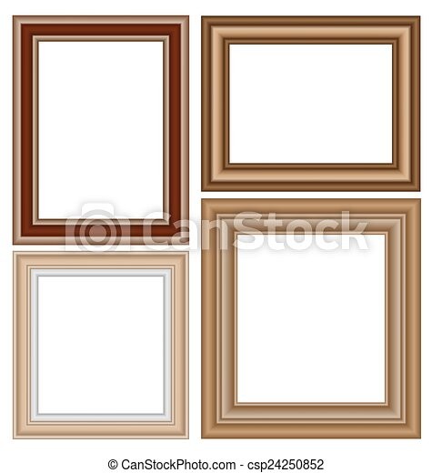 Four wooden frames isolated on white background.