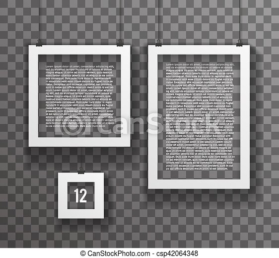 Frames paper big little realistic text poster icon set template ...