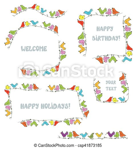 Frames set for events and holidays with funny birds - vector ...