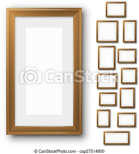 Frames Set Wooden Blank Picture Frame Template Set Isolated On