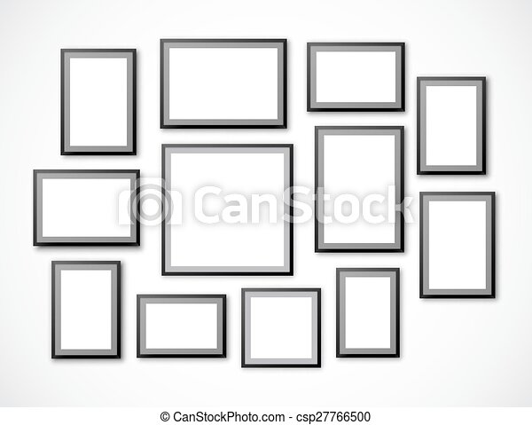 Frames set. Different sizes and a4, b4, c4 proportion blank frames ...
