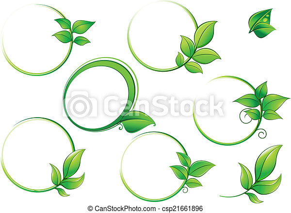 Frames set with geen leaves. Green round frames with leaves isolated ...