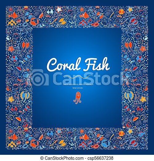 Frames With Coral Fish Color 11 Square Frame Of Deep Sea Fish