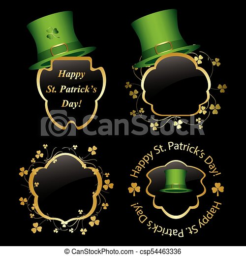 Frames With Green Hats And Trefoils For St Patrick Day Vectors