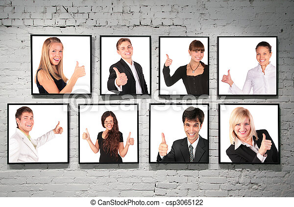 frames with ok gesture people on white brick wall collage - csp3065122