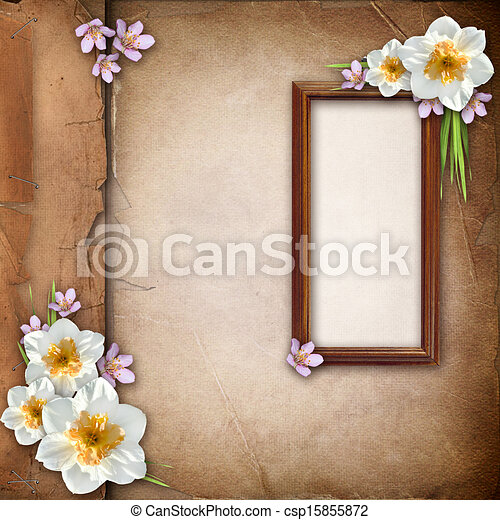 Framework for photo over old paper album cover   - csp15855872