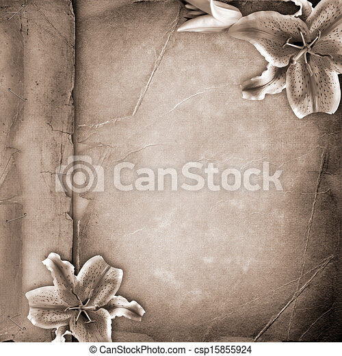 Framework for photo with spring flowers over old paper album cover   - csp15855924
