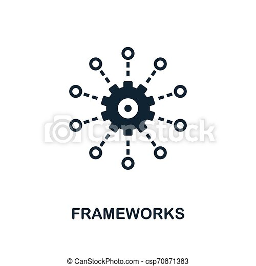 Frameworks icon. Monochrome style design from big data icon collection. UI. Pixel perfect simple pictogram frameworks icon. Web design, apps, software, print usage. - csp70871383