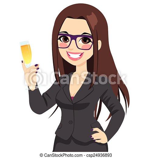 framgångsrik, affärskvinna, rosta, brunett, champagne - csp24936893