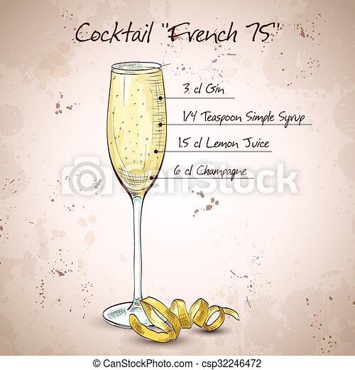 Cóctel francés 75 - csp32246472