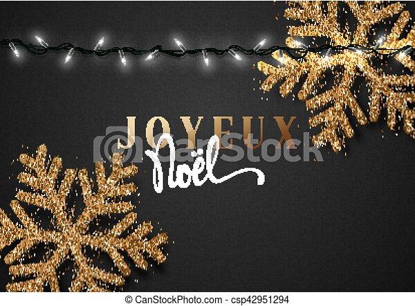 Feliz Navidad. Inscripción francesa. Joyeux noel. - csp42951294