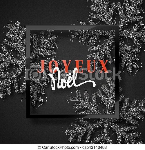 Feliz Navidad. Inscripción francesa. Joyeux noel. - csp43148483