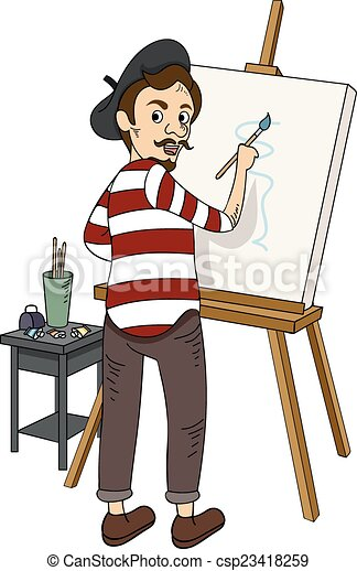 Illustration Caracteriser Francais Peintre Canstock