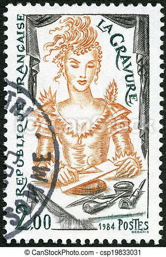 FRANCE - 1984: shows Engraving - csp19833031