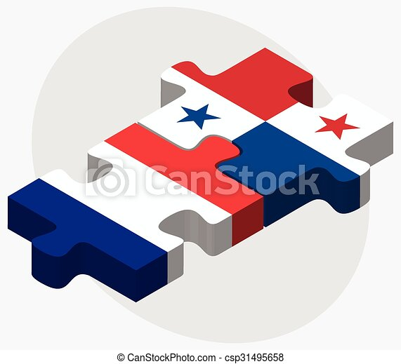France And Panama Flags In Puzzle Isolated On White Clipart - Panama flags