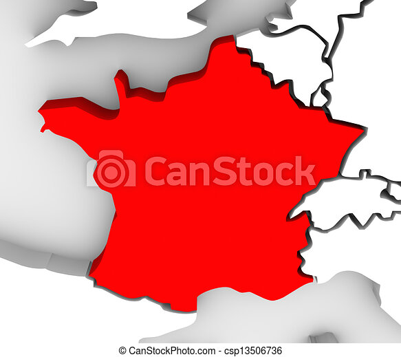 France Country 3d Abstract Illustrated Map Europe - csp13506736
