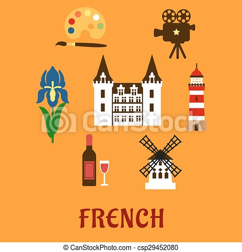 France Cultural And Historical Symbols French National Flat Icons