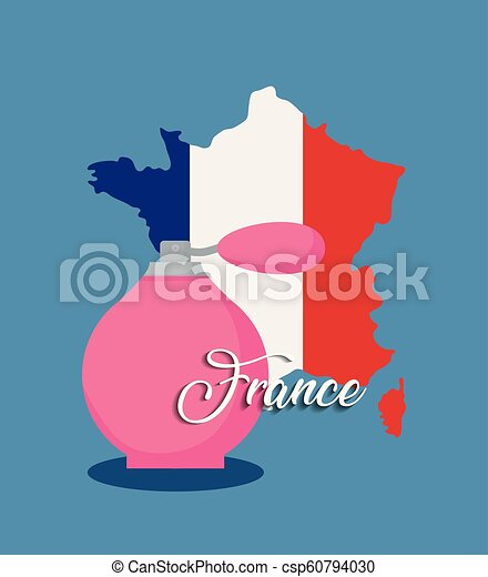 france culture card with flag and fragrance bottle - csp60794030