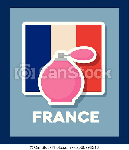 france culture card with flag and fragrance bottle - csp60792316
