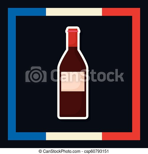 france culture card with flag and wine bottle - csp60793151