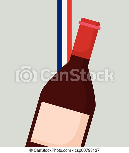 france culture card with flag and wine bottle - csp60793137