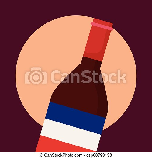 france culture card with flag and wine bottle - csp60793138