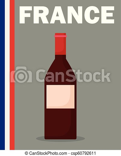 france culture card with flag and wine bottle - csp60792611