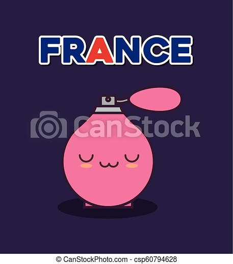 france culture card with fragance bottle kawaii - csp60794628