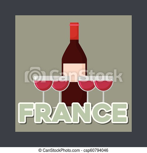 france culture card with wine bottle - csp60794046
