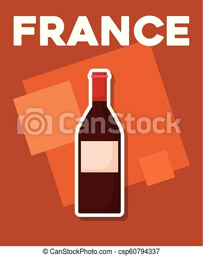 france culture card with wine bottle - csp60794337