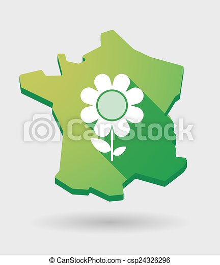 France Green Map Icon With A Flower Illustration Of A France Green