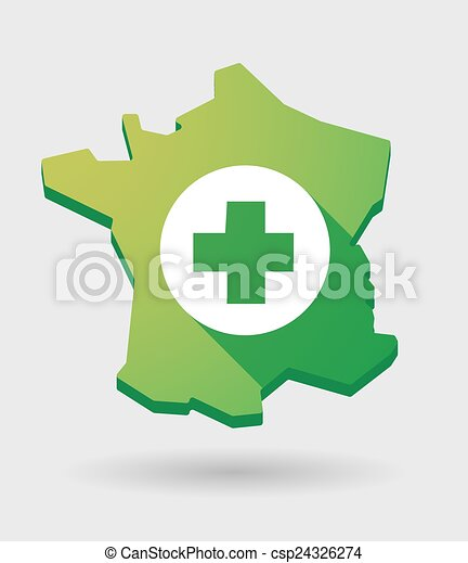 France green map icon with a pharmacy sign - csp24326274