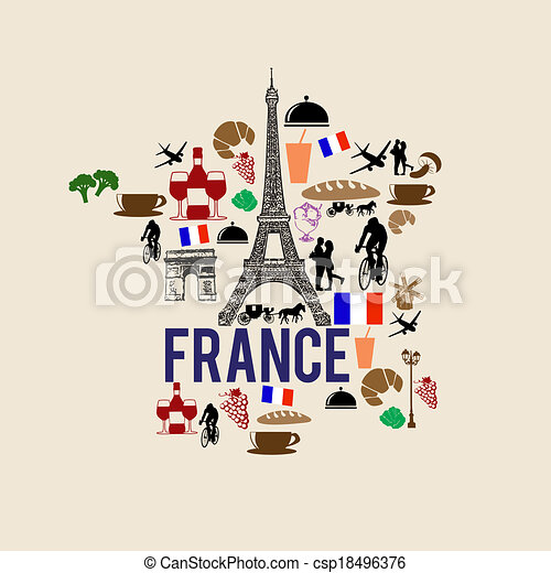 france landmark map silhouette icon on retro background vector rh canstockphoto com free clip art france eiffel tower clipart paris france free