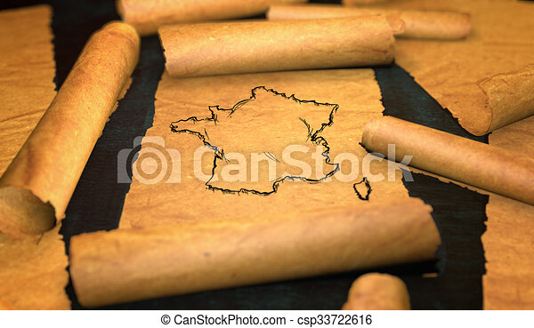 France Map Drawing Unfolding Old Paper Scroll 3D