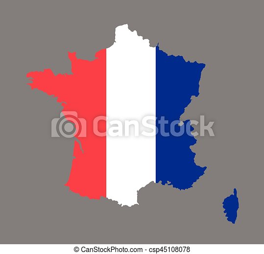 France Map Flag.France Map Vector With The French Flag On Grey Background
