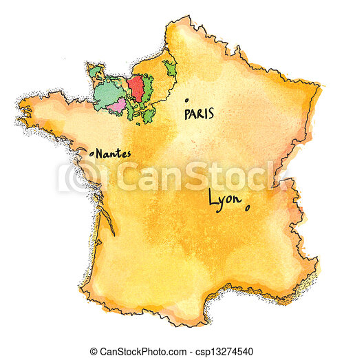 Calvados France Map.France Map Watercolor Painted France Map Drawing The Region Of