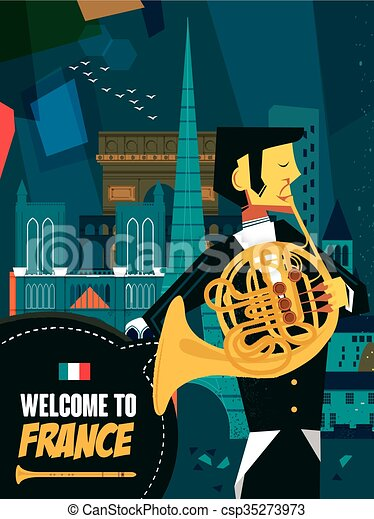 France music night poster - csp35273973