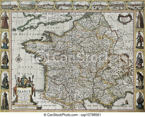 Old Map Of France.France Old Map