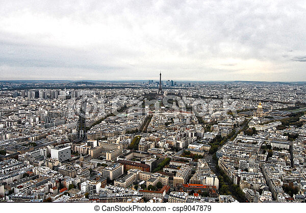 France, Paris: nice aerial city view of montparnasse - csp9047879